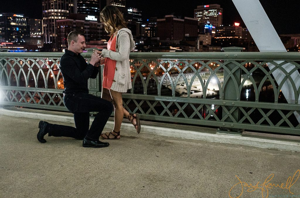 Saturday night Downtown Nashville proposal  | Zach and Abbey